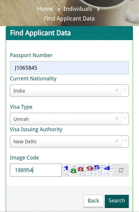How to check Saudi Visa status with passport number and application number?