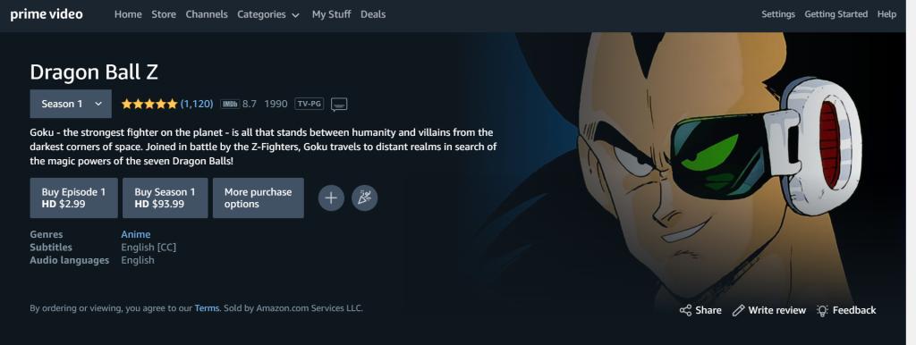 Watch Dragon Ball Z Online: Amazon