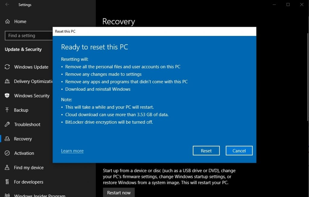 How To Factory Reset Windows 10