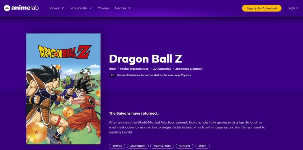 Watch Dragon Ball Z Online: AnimeLab