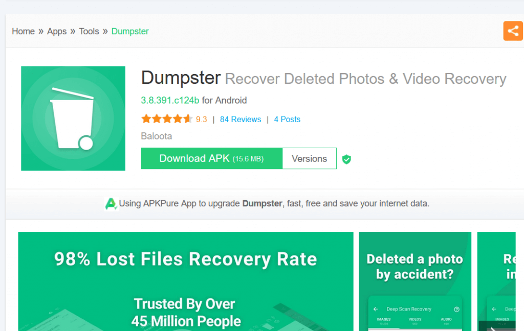 Dumpster; How To Recover Deleted Snapchat Messages