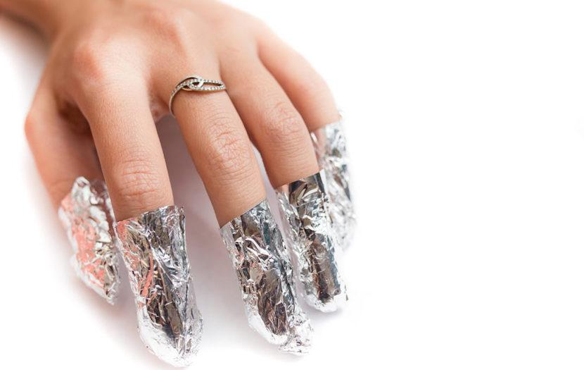 tinfoil method; how to remove color street nails.