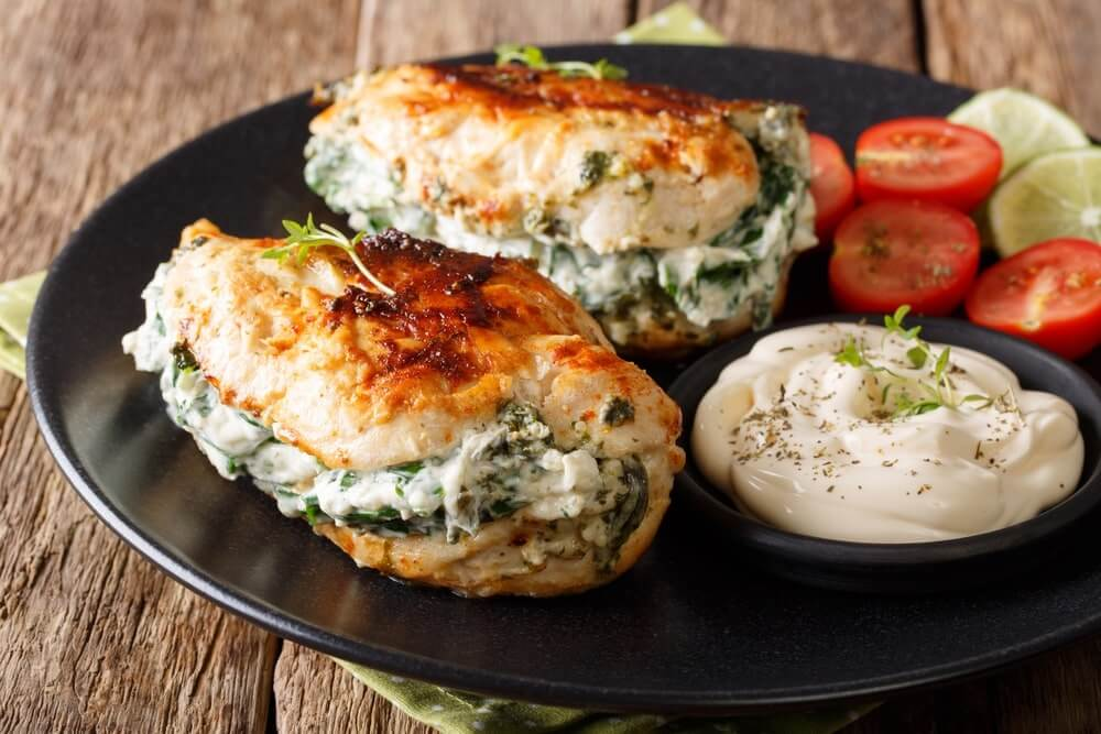 Spinach Stuffed Chicken Breasts; 10 High Protein Low Fat Recipes