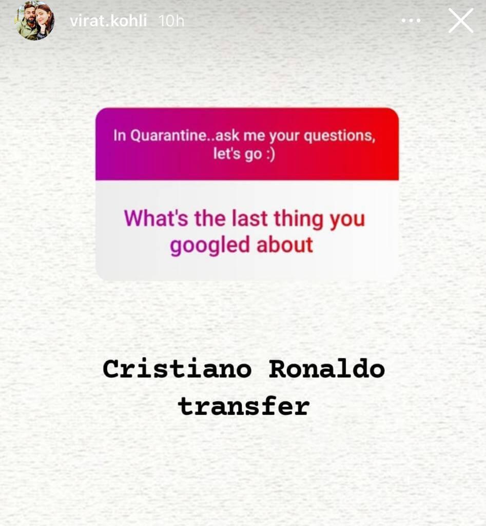 Virat Kohli Insta Story About Ronaldo